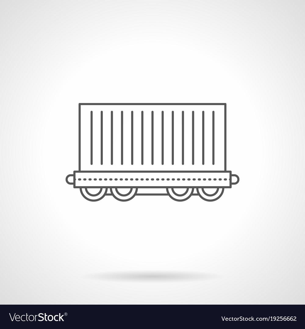 Cargo wagon flat line icon