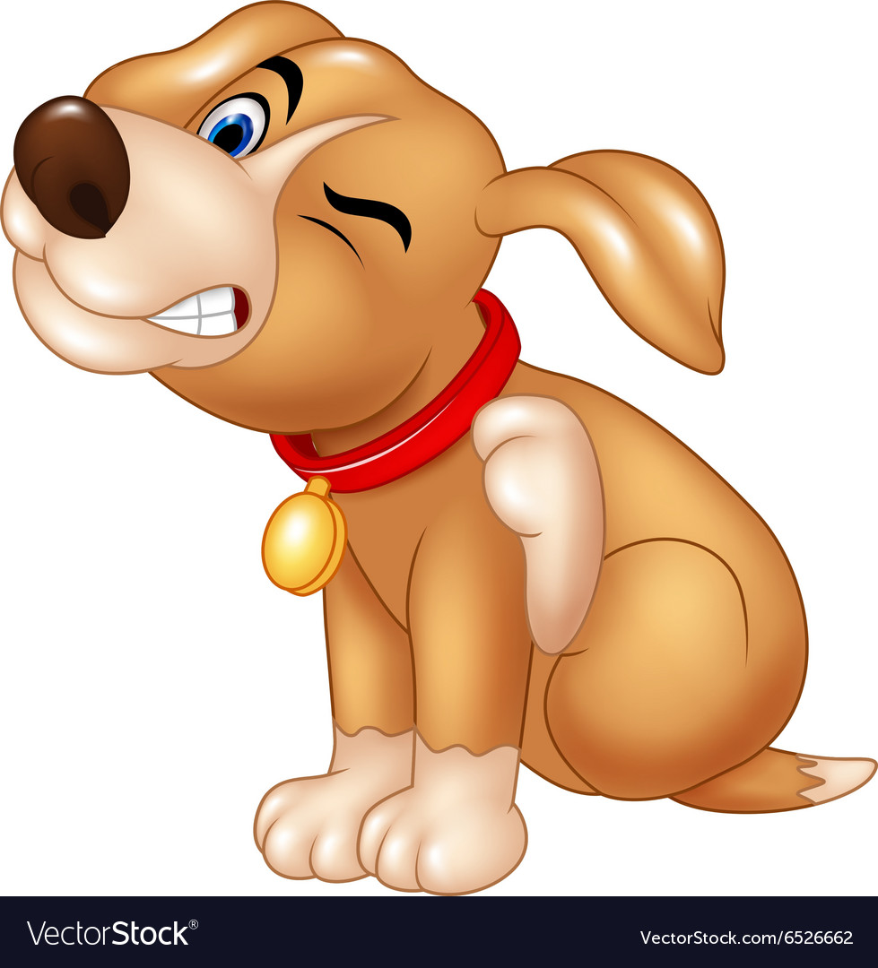 Cartoon dog scratching an itch vector image