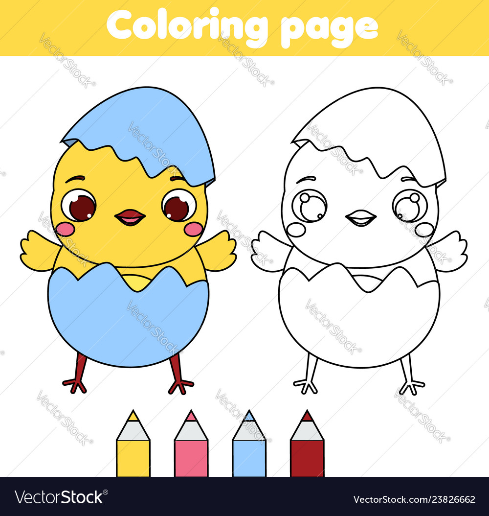 Coloring page with cartoon chicken drawing kids Vector Image