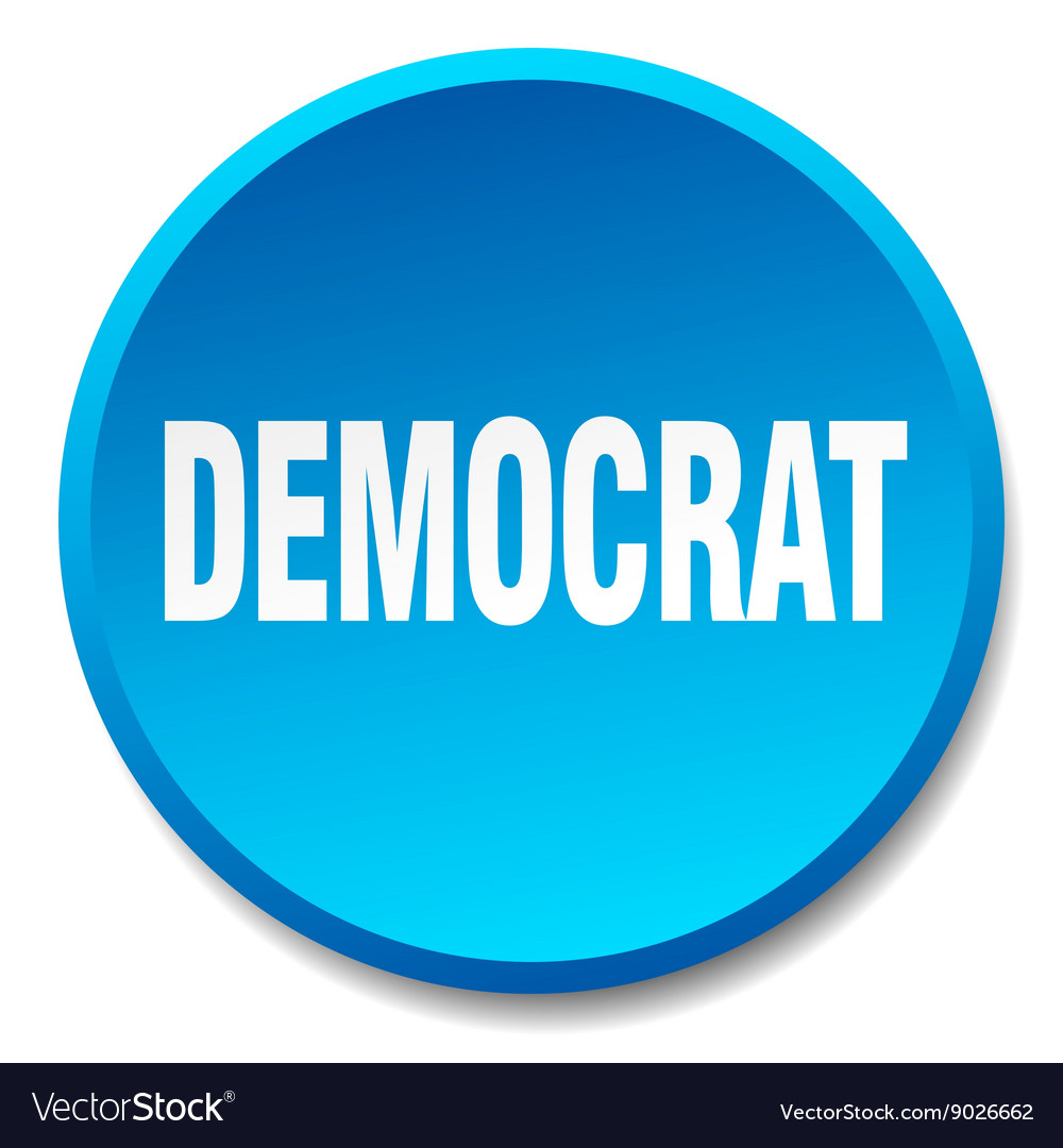 Democrat blue round flat isolated push button