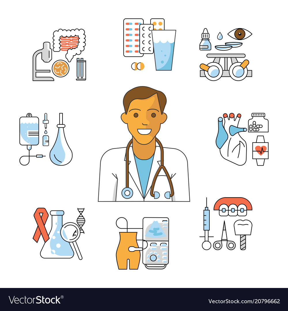 Doctor avatar and medical icons