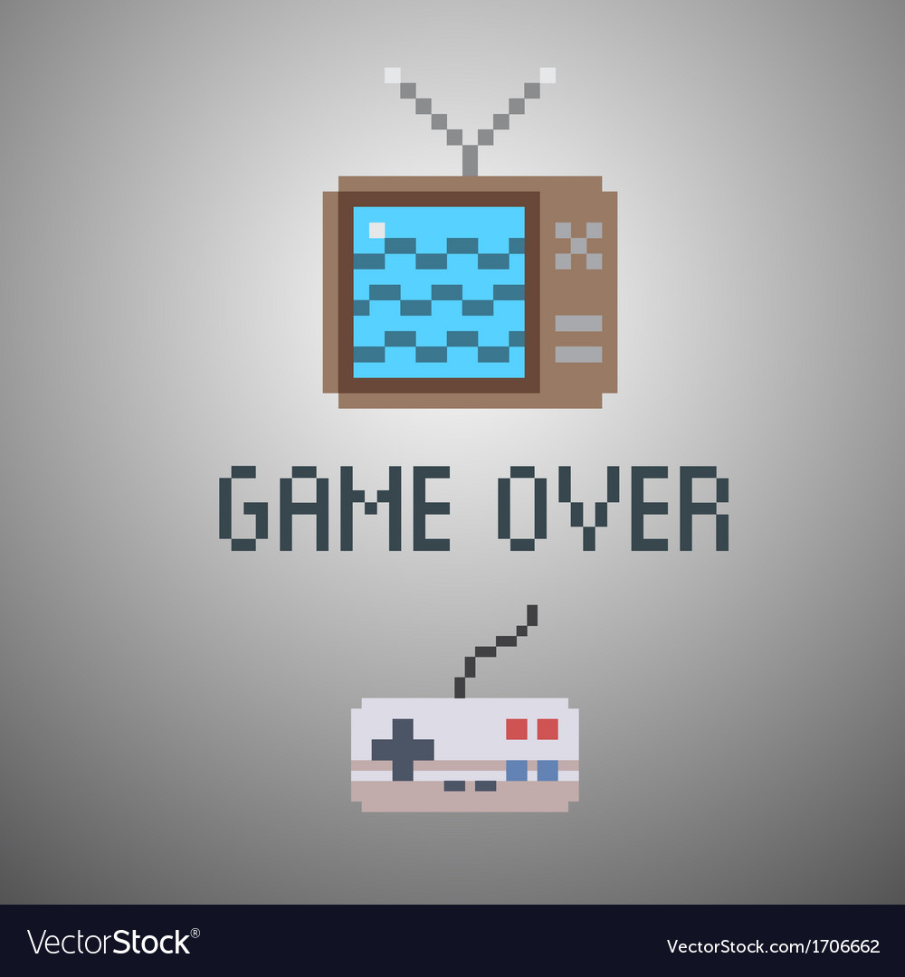 Game over old school 8 bit game poster