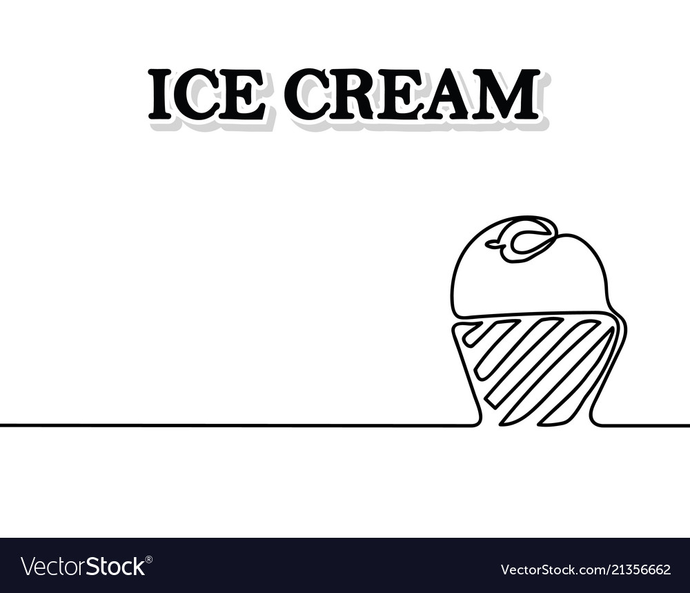 Ice cream is black continuous line drawing
