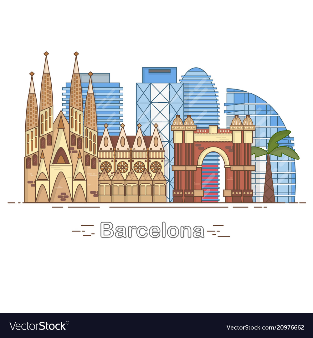 Minimal barcelona city linear skyline - outline