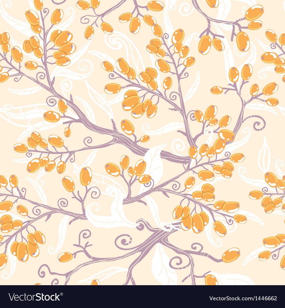 Orange buckthorn berries seamless pattern