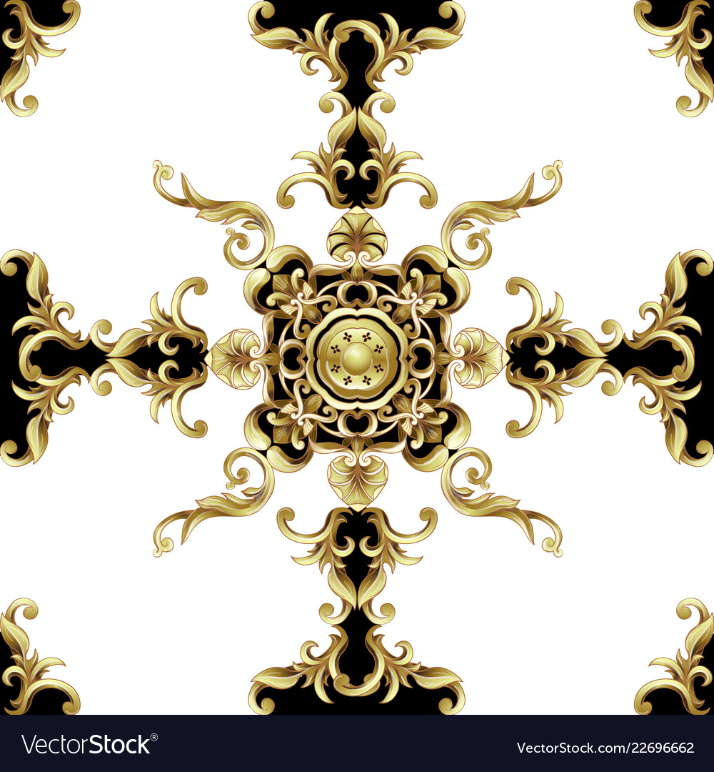Seamless pattern with golden baroque