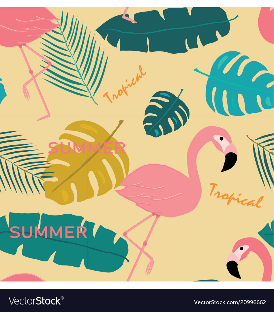 Seamless pink pastel flamingo and topical leaves