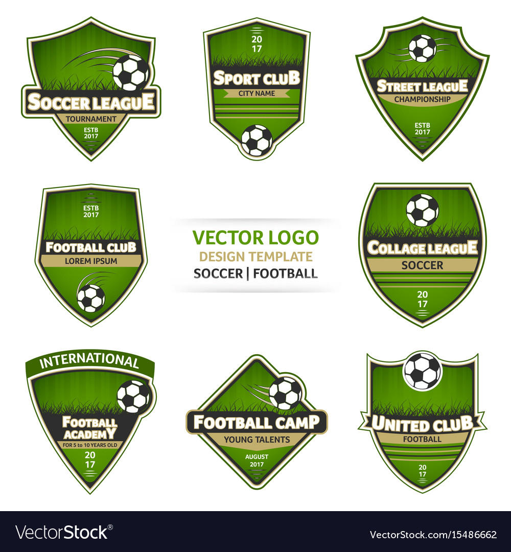 Set green soccer logo football logotype
