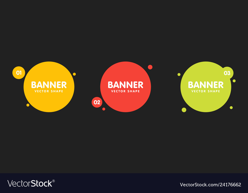 Set round colorful shapes abstract banners