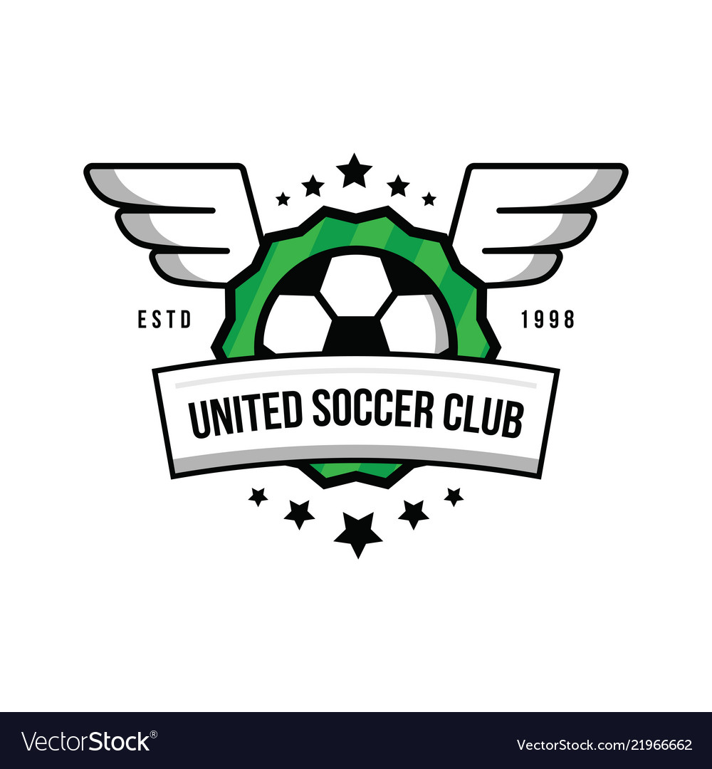 Soccer team logo with a ball and wings on a green