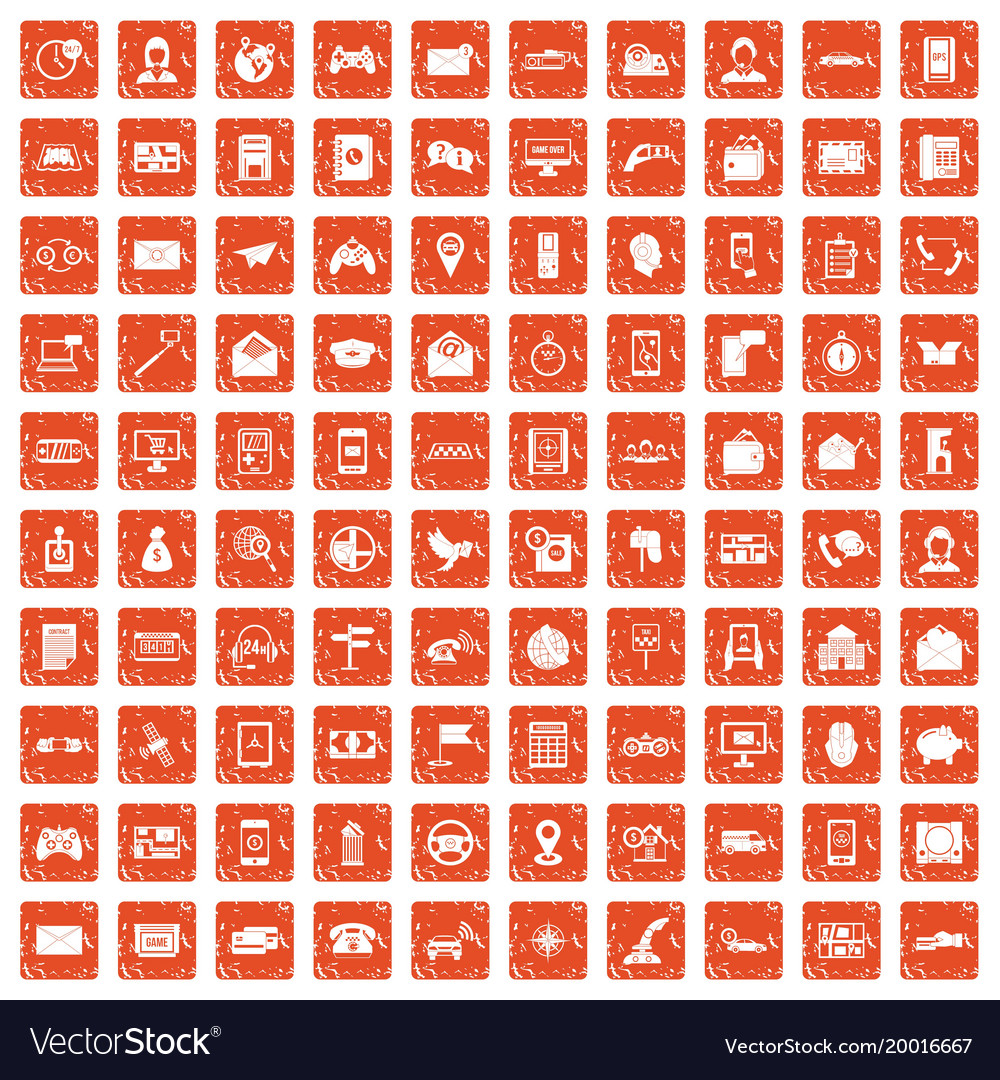 100 telephone icons set grunge orange