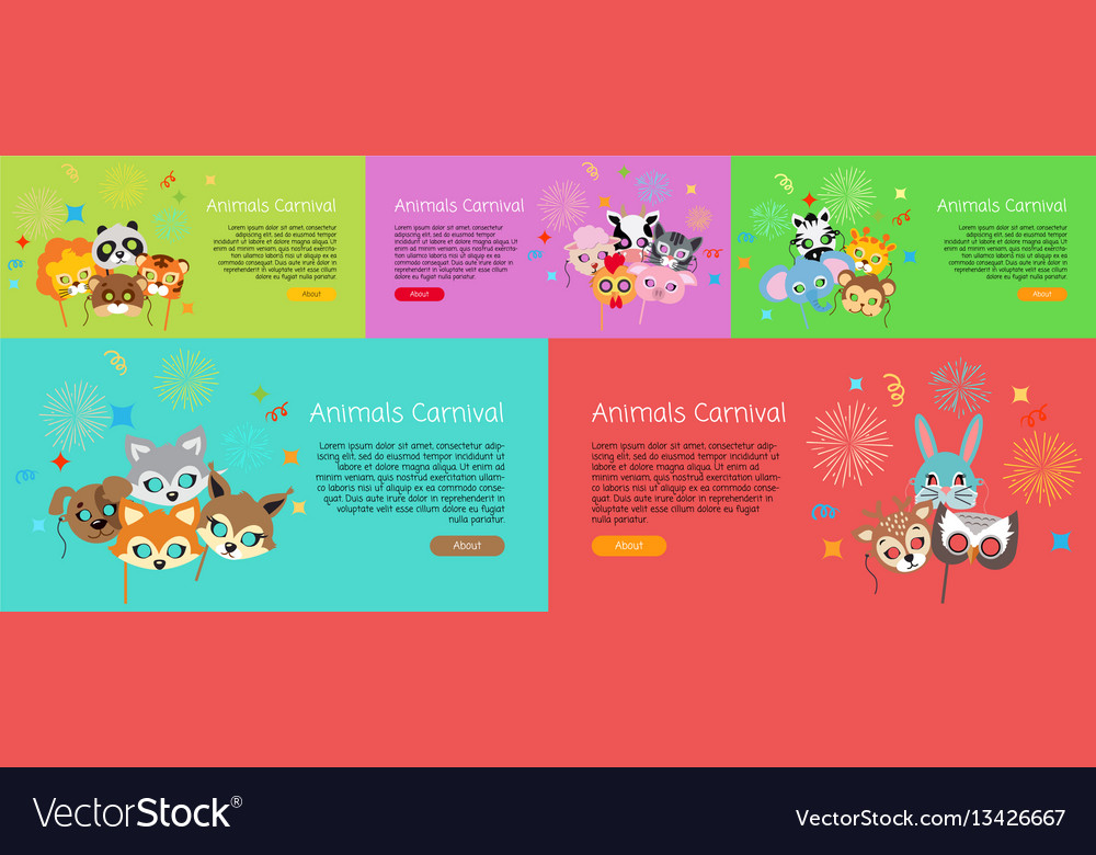 Animal carnival collection of cartoon face masks