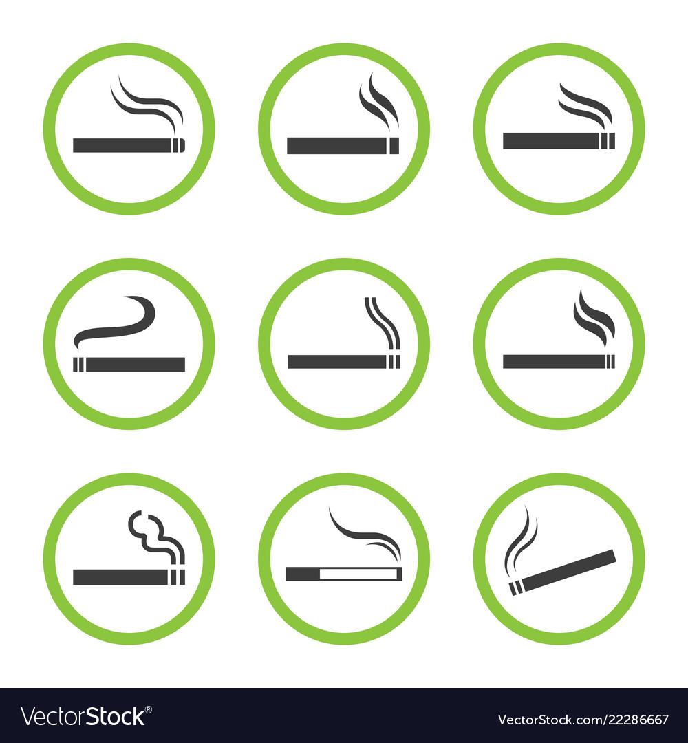 Designated smoking area sign set smoking place