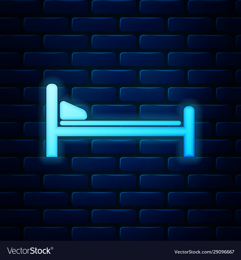 Glowing neon hospital bed icon isolated on brick