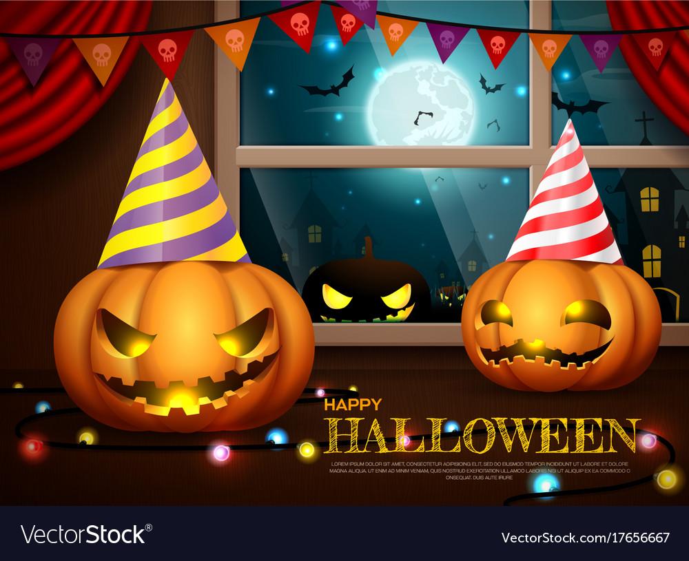 Halloween pumpkins party vector image