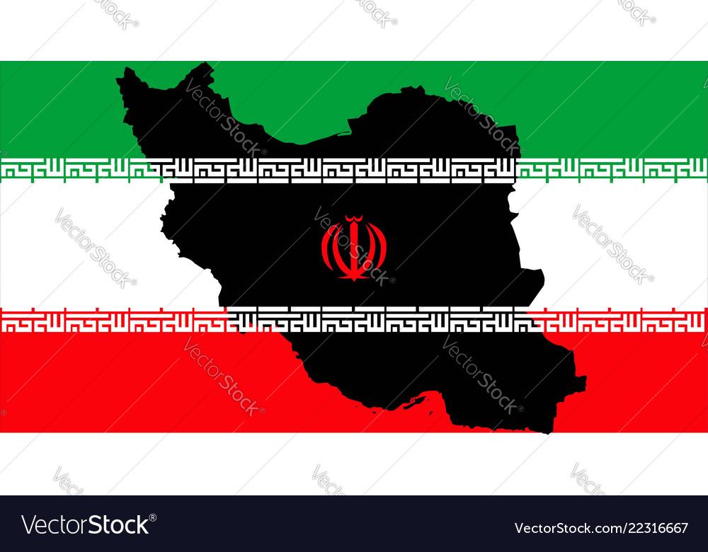 Islamic republic iran with flag inside map