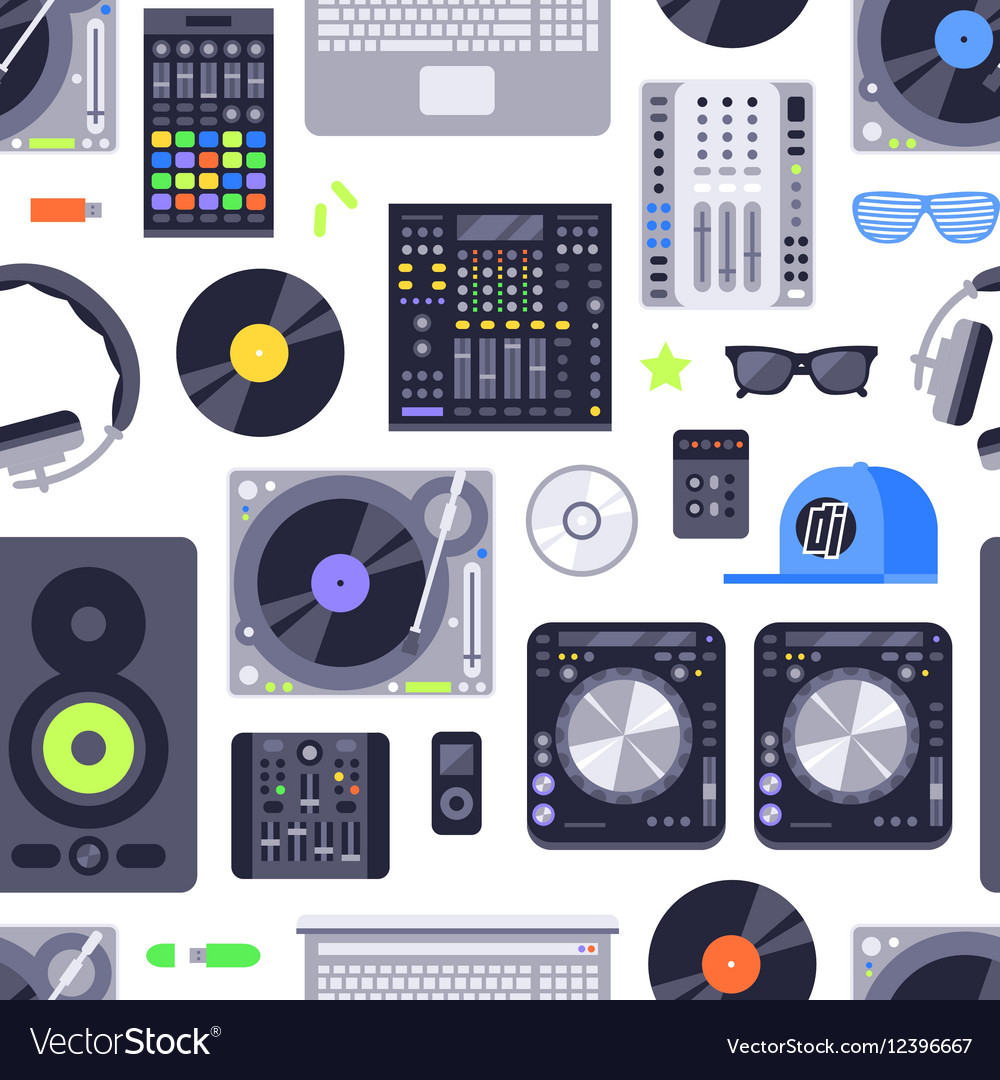 Music concept seamless pattern made with icons