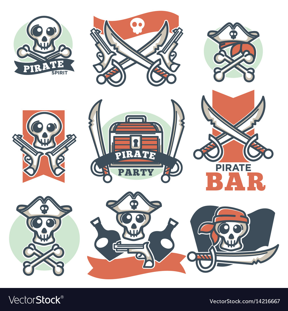 Pirate spirit logo emblems poster on white