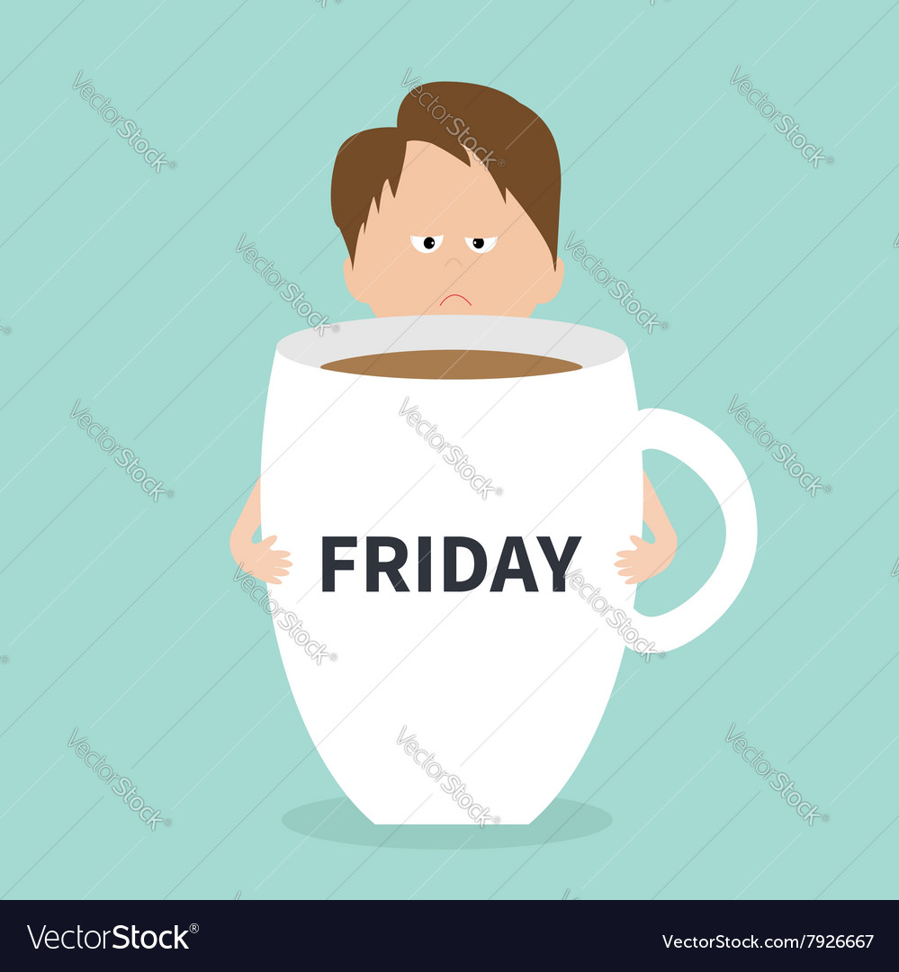 Sleepy businessman manager hugs Friday coffee cup Vector Image #coffeeFriday