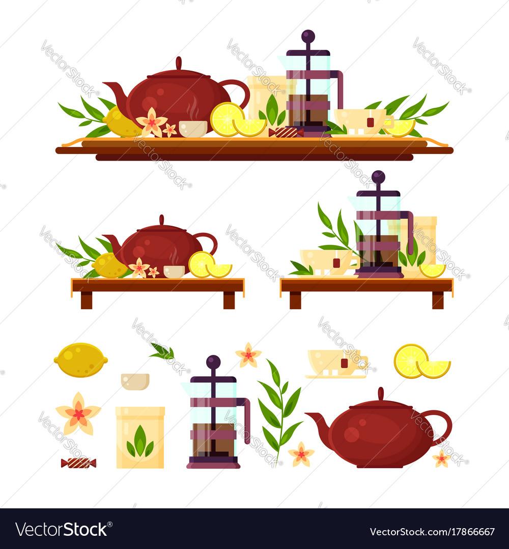 Tea ceremony - teapot french press lemon cup vector image