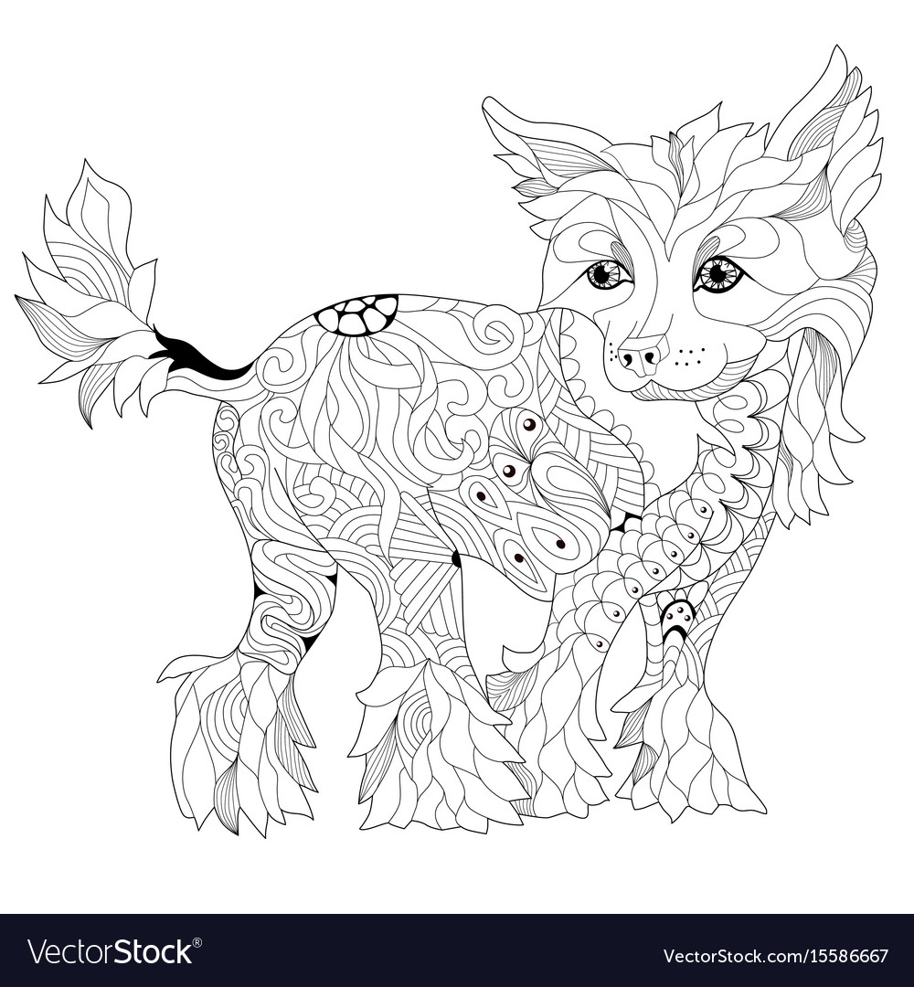 Zentangle stylized dog hand drawn lace