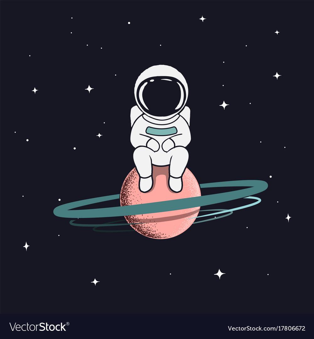 Astronaut sits on satu...