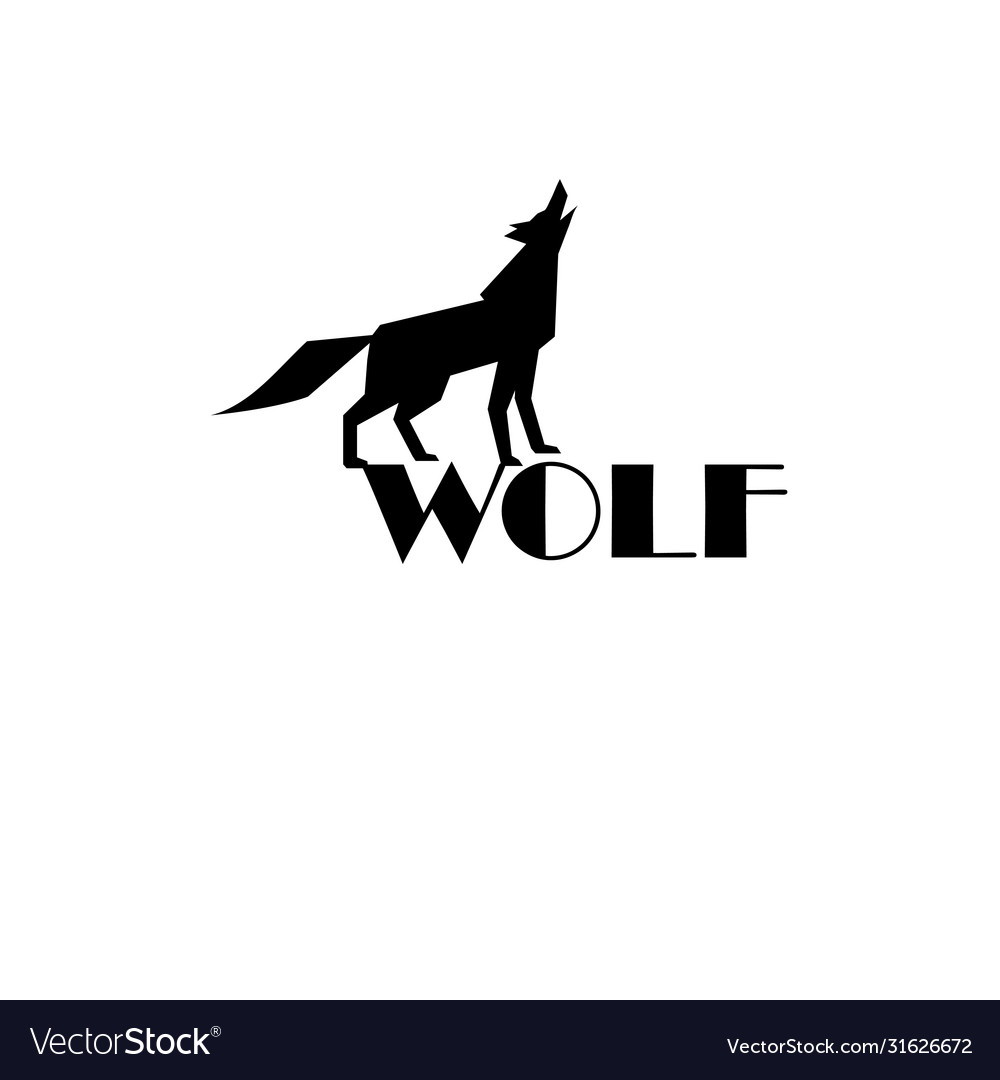 Black wolf sign on white background