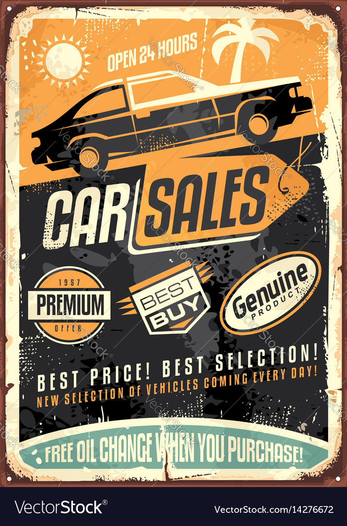 Car sales vintage sign design Royalty Free Vector Image