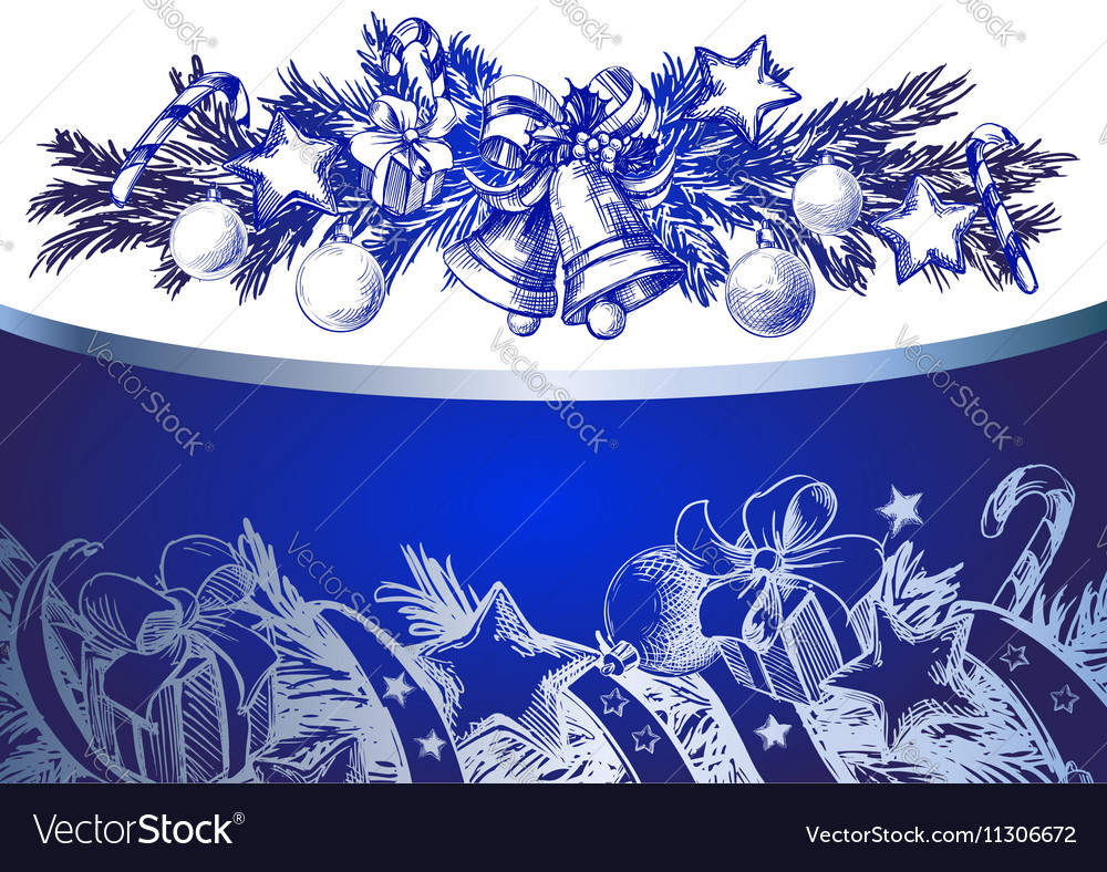 Christmas blue background with silver fir twigs vector image