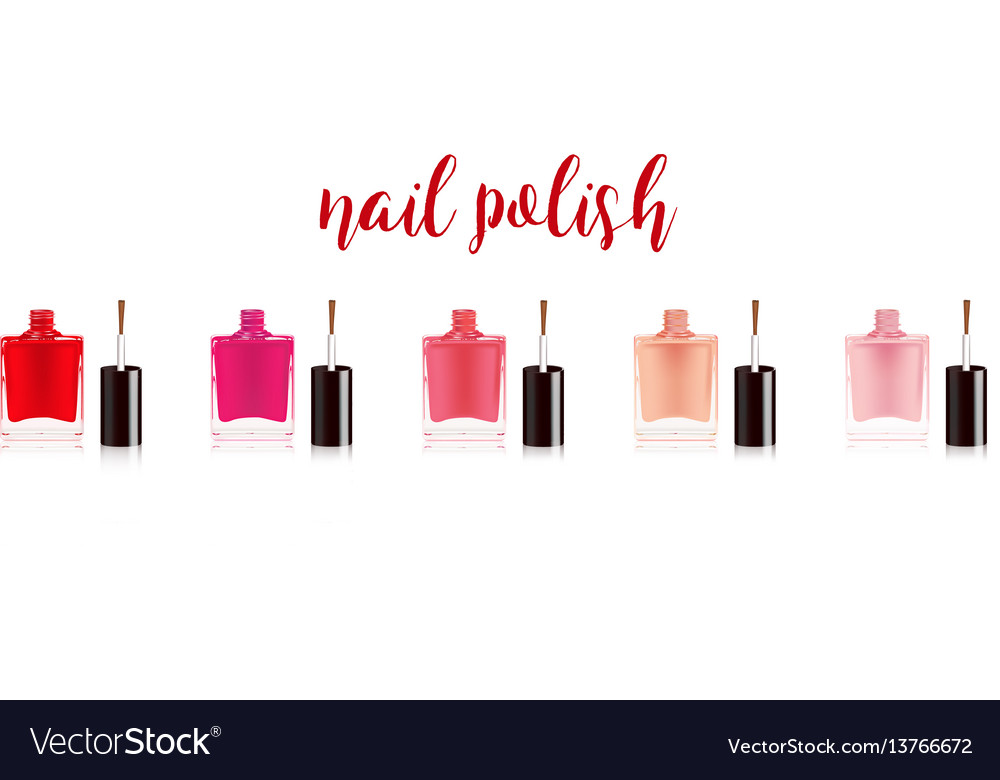 Different colors nail polish set nail varnish in vector image