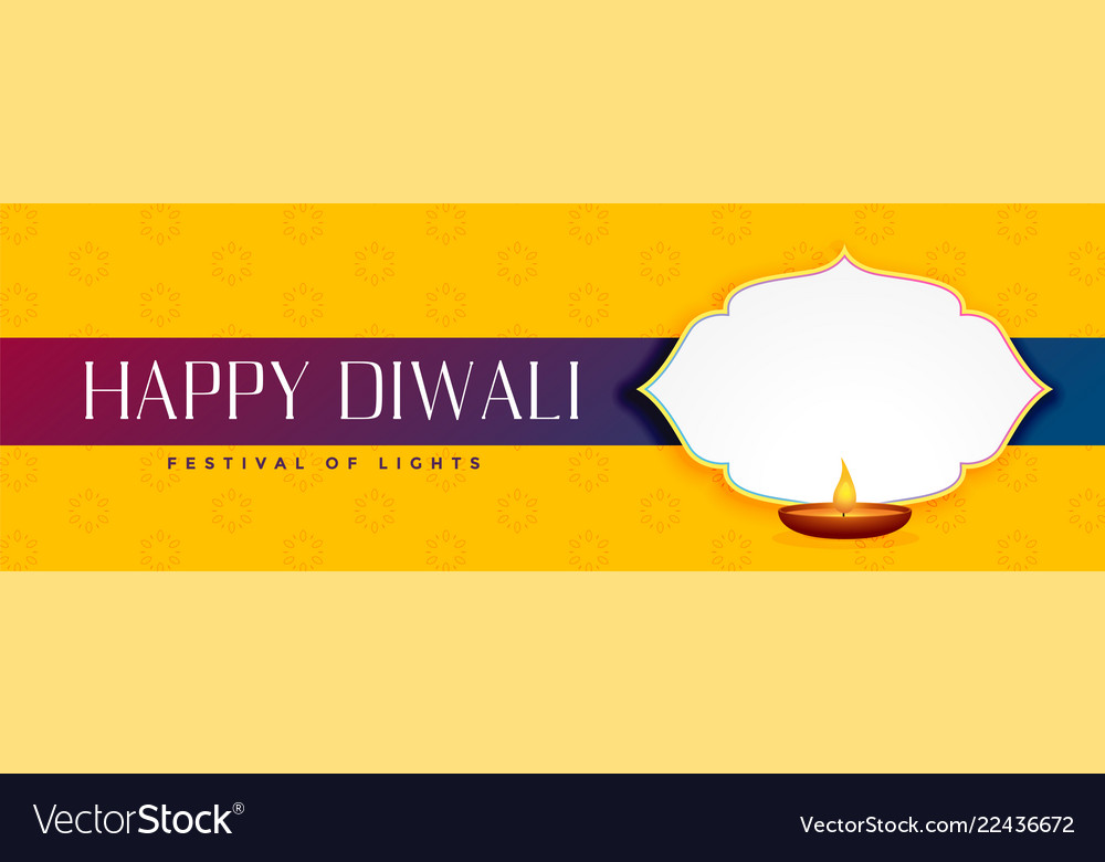 Elegant happy diwali yellow banner with text space