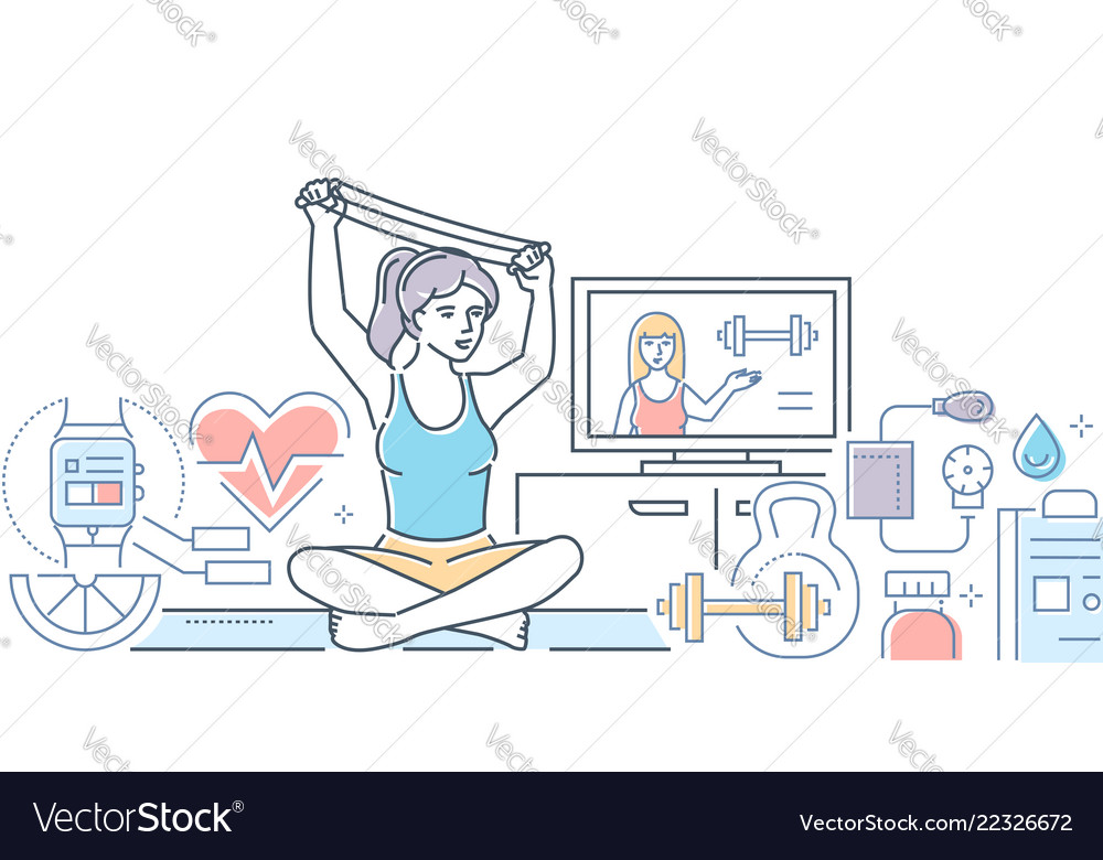 Home fitness - colorful line design style