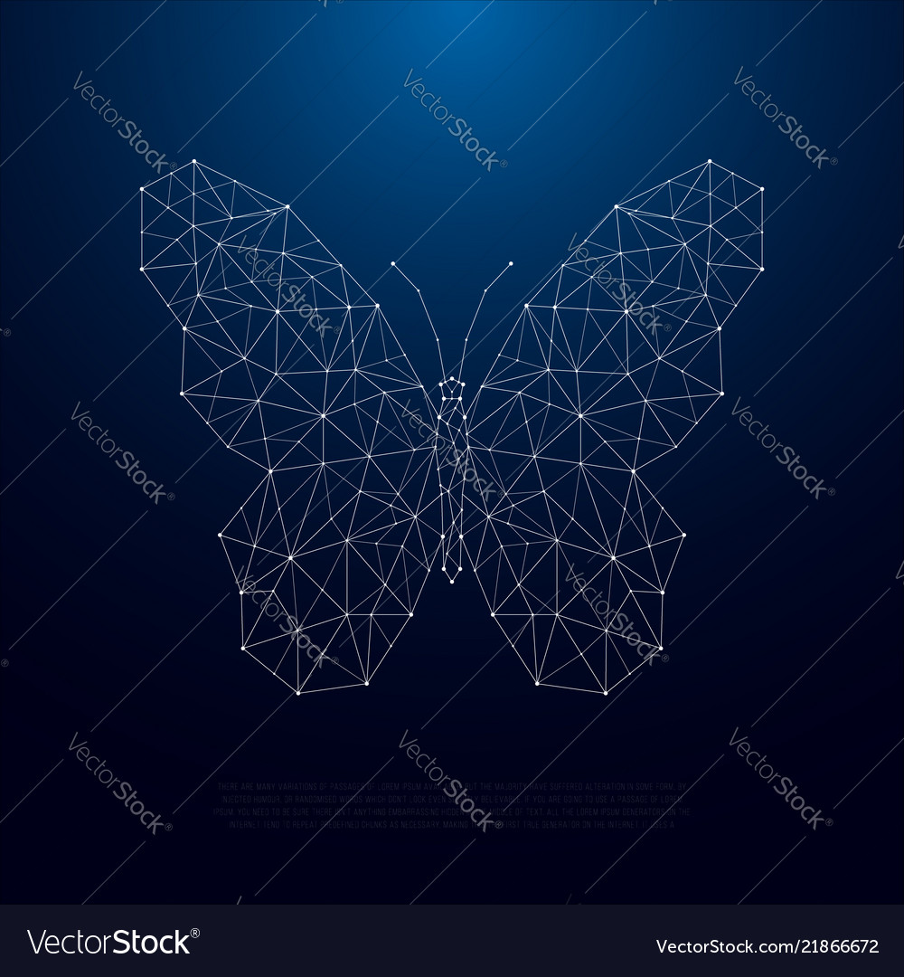 Low poly butterfly silhouette beautiful geometric