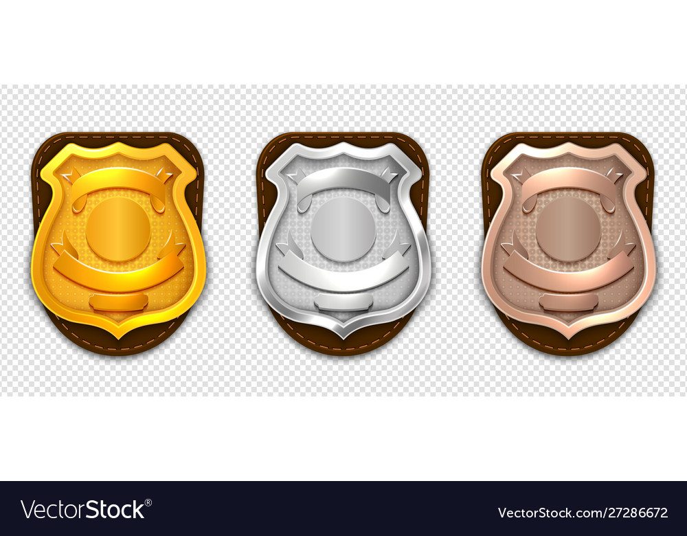 Realistic police badges security silver gold