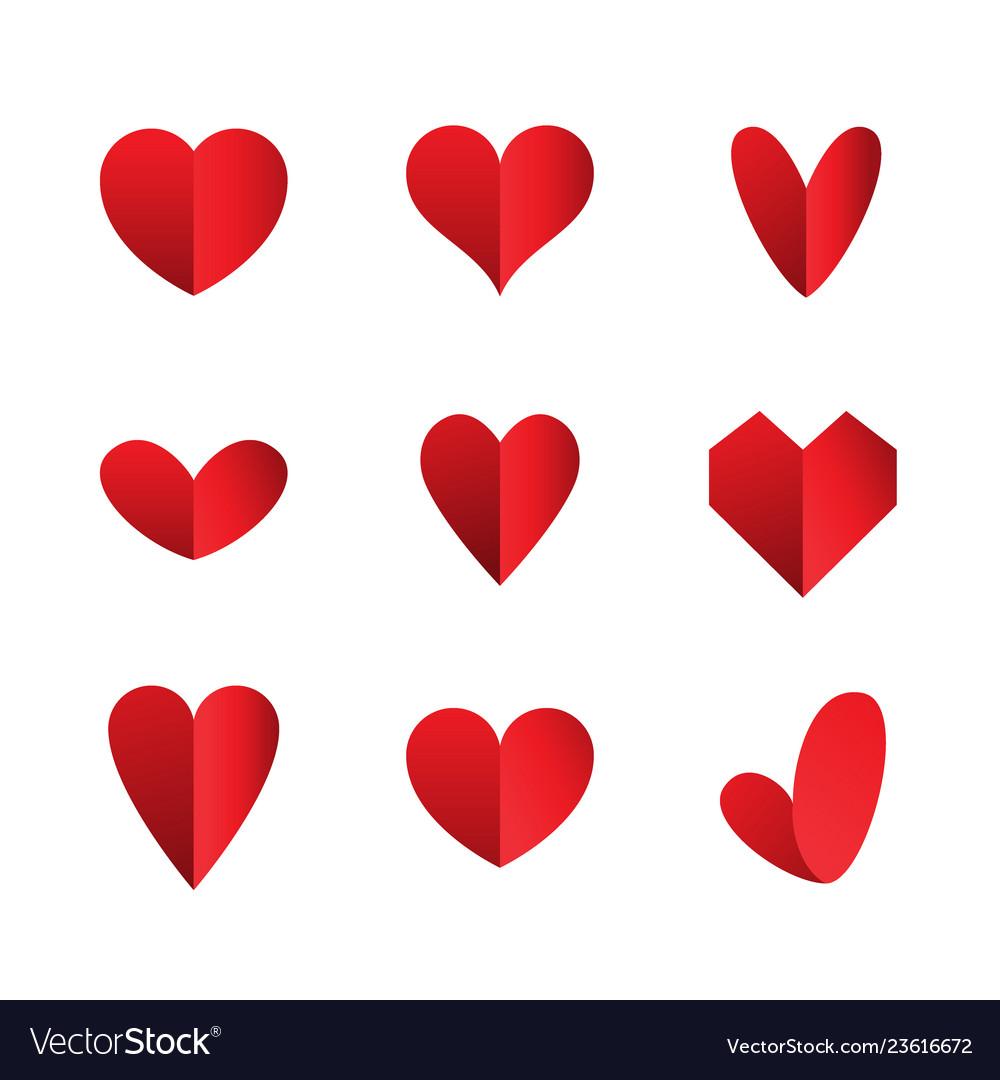 Set heart icons isolated on white