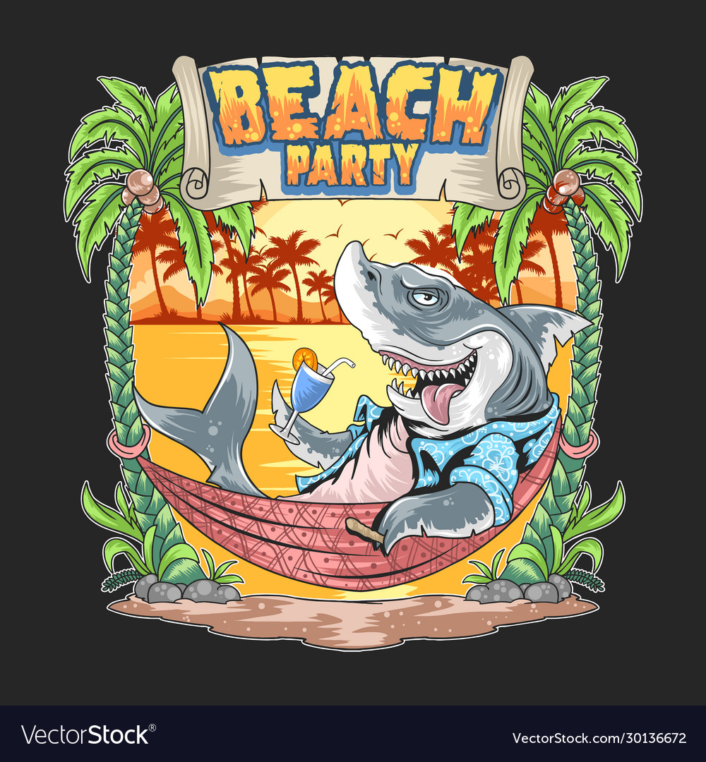 Shark in summer beach party artwork