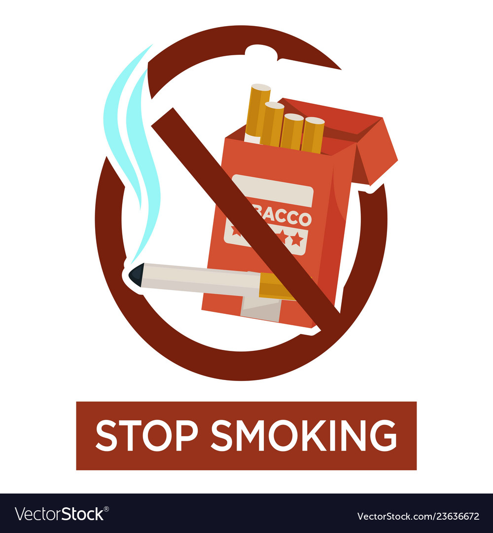 Stop smoking warning sign with cigarette pack