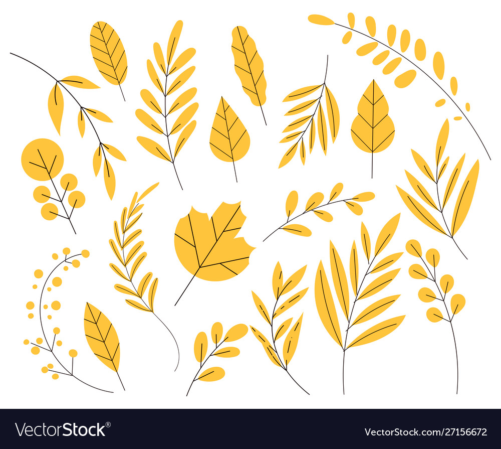 Yellow leaf in a flat style set autumn leaves
