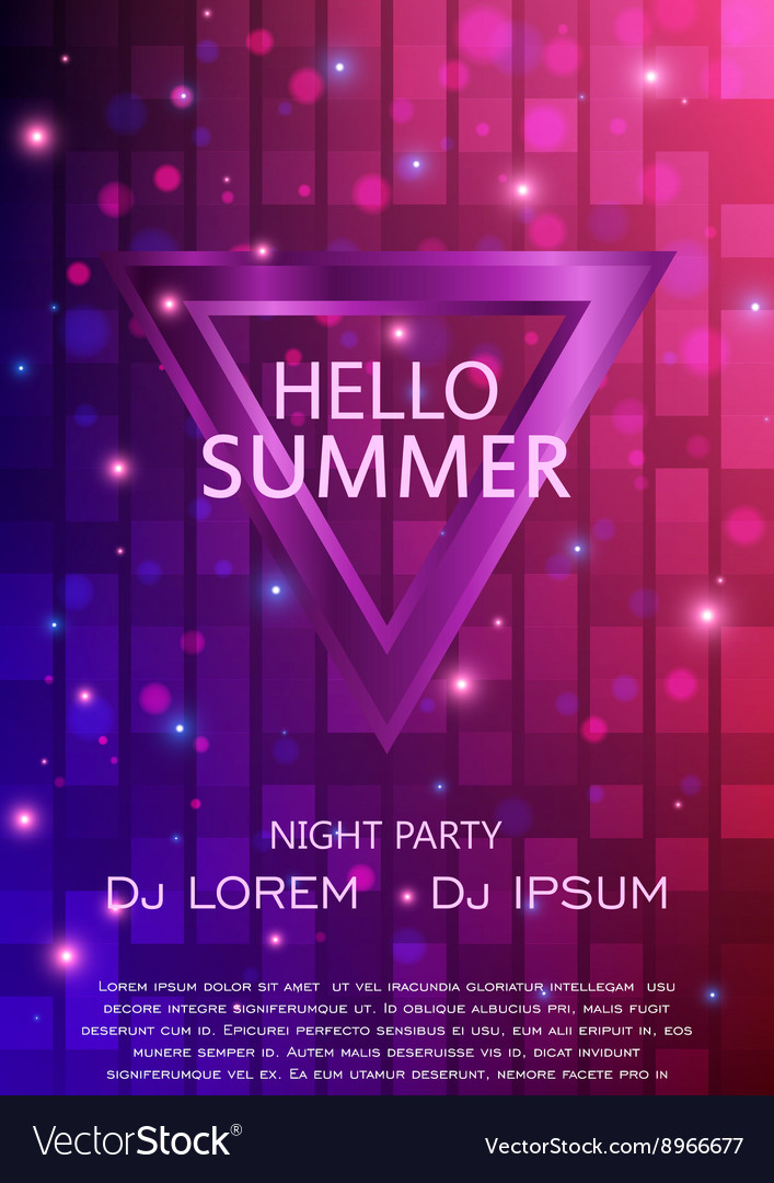Club Party Flyer Hello Summer Party Flyer A4 vector image