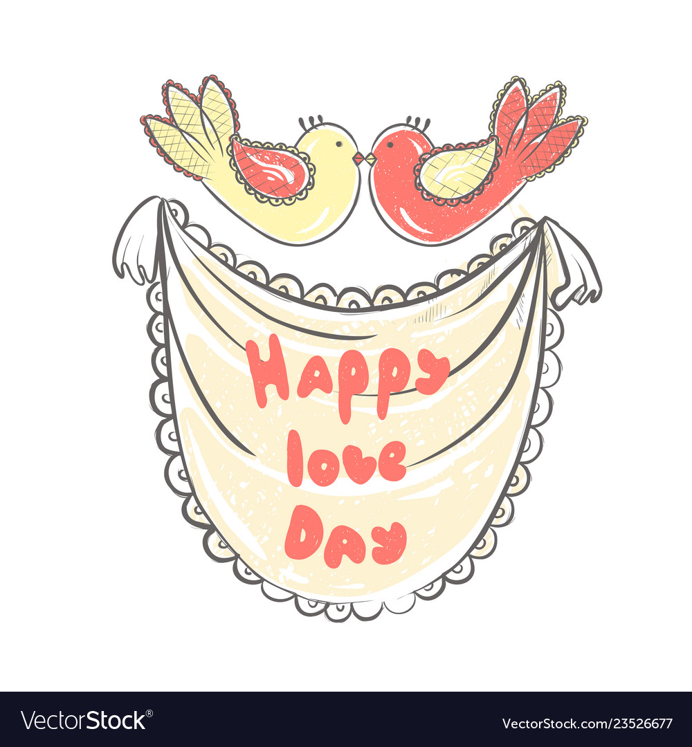 Lettering happy love day stylized large letters