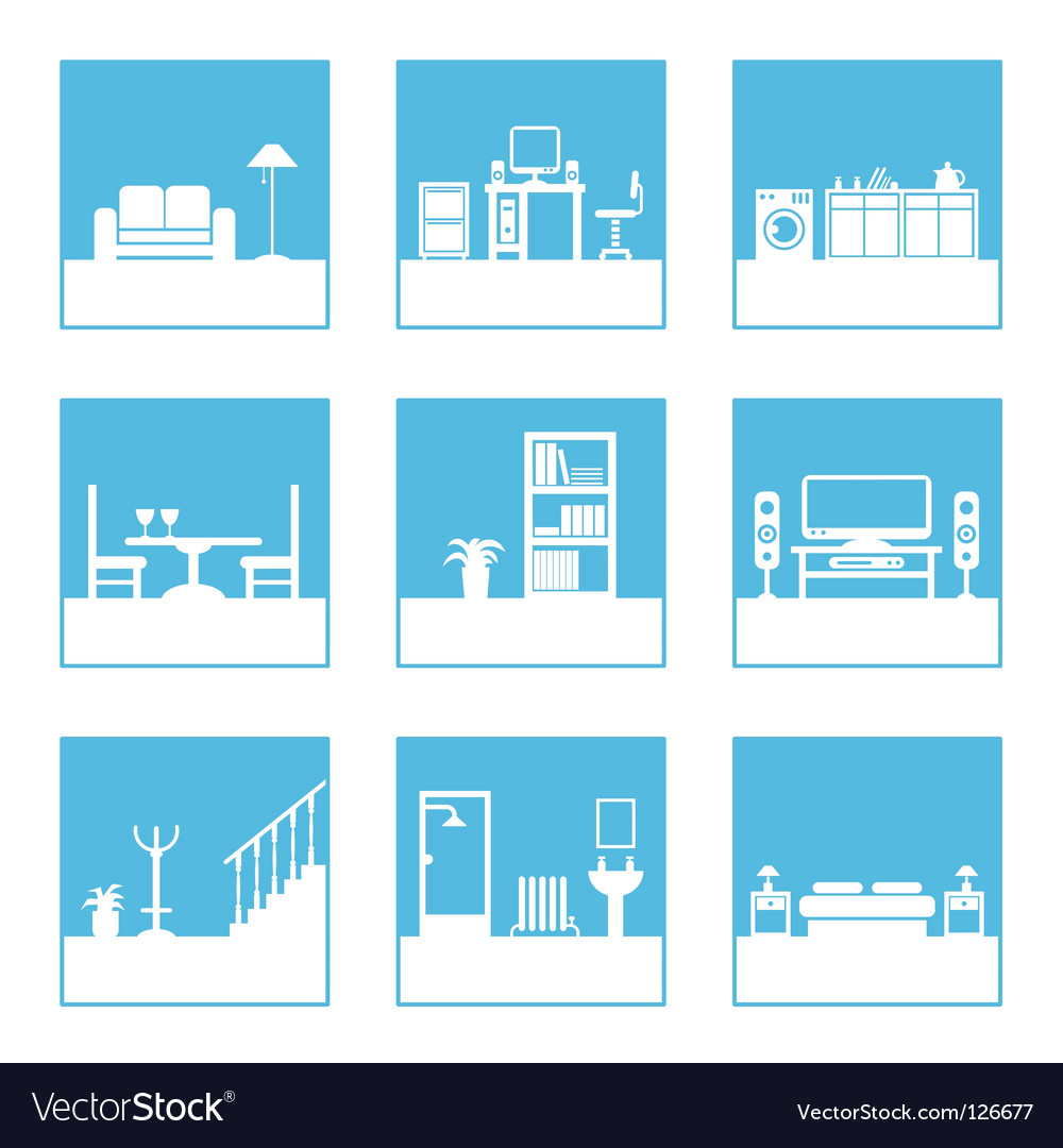 Room icons vector image