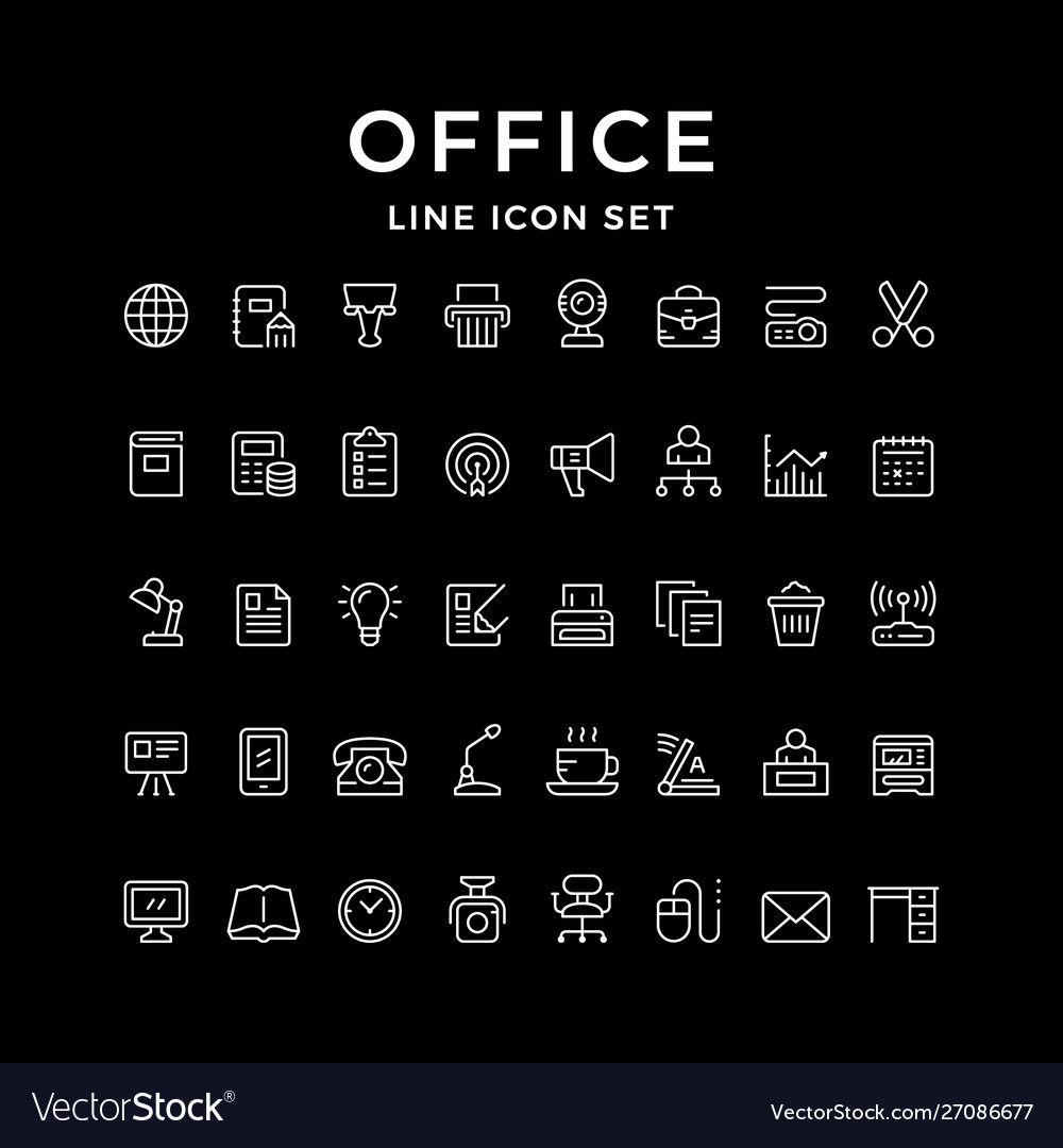 Set line icons office