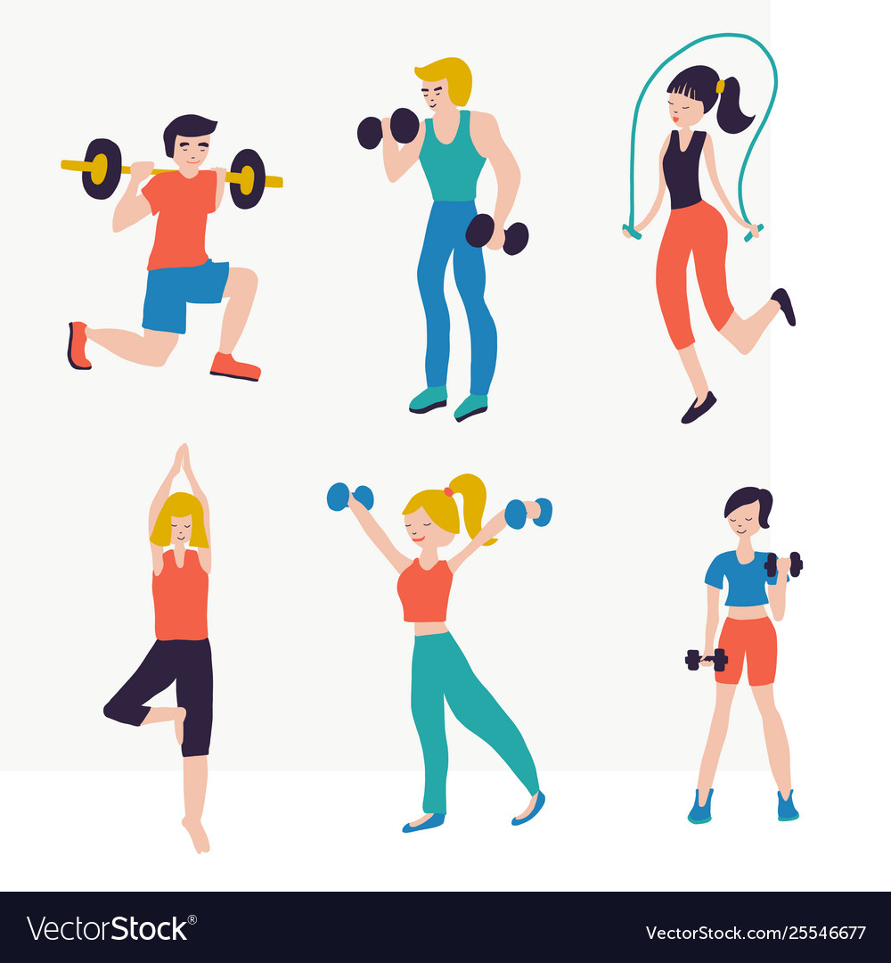 Set people fitness workout