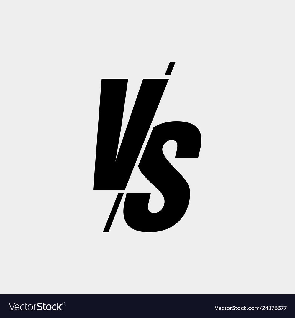 Versus sign modern style black color isolated on