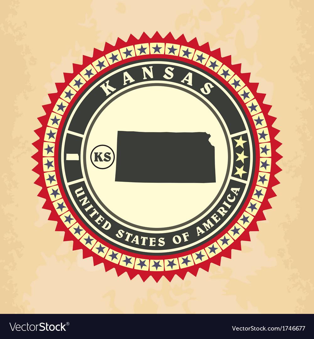 Vintage label-sticker cards of Kansas