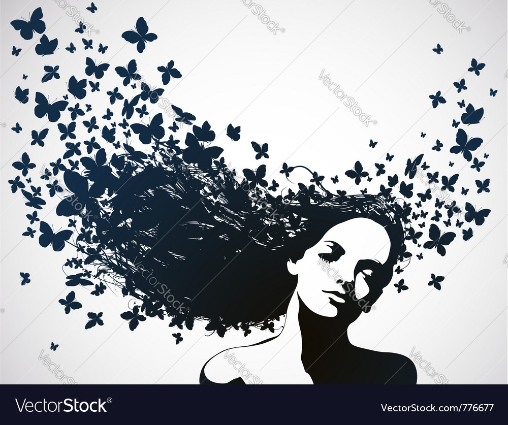 Woman with butterflies flying from her hair