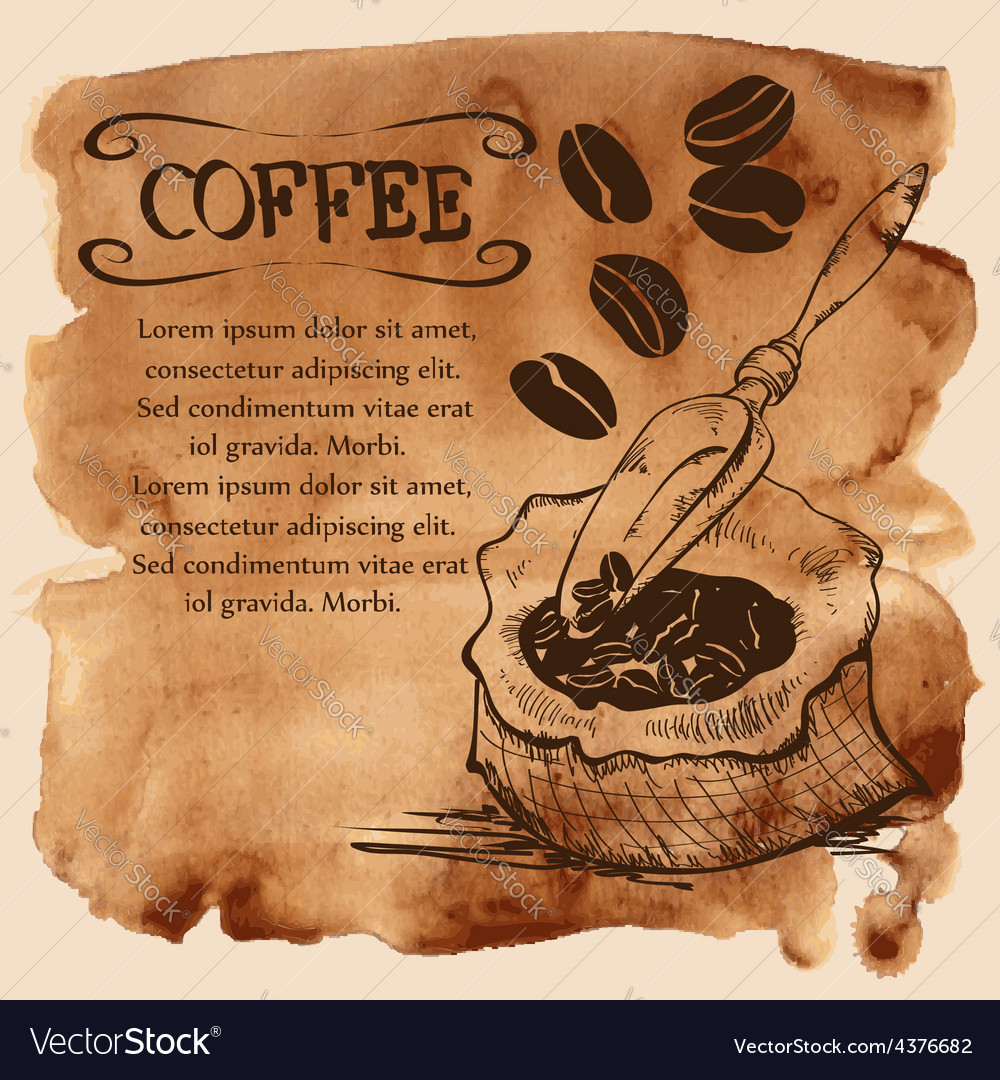 Bag with coffee beans on a watercolor background