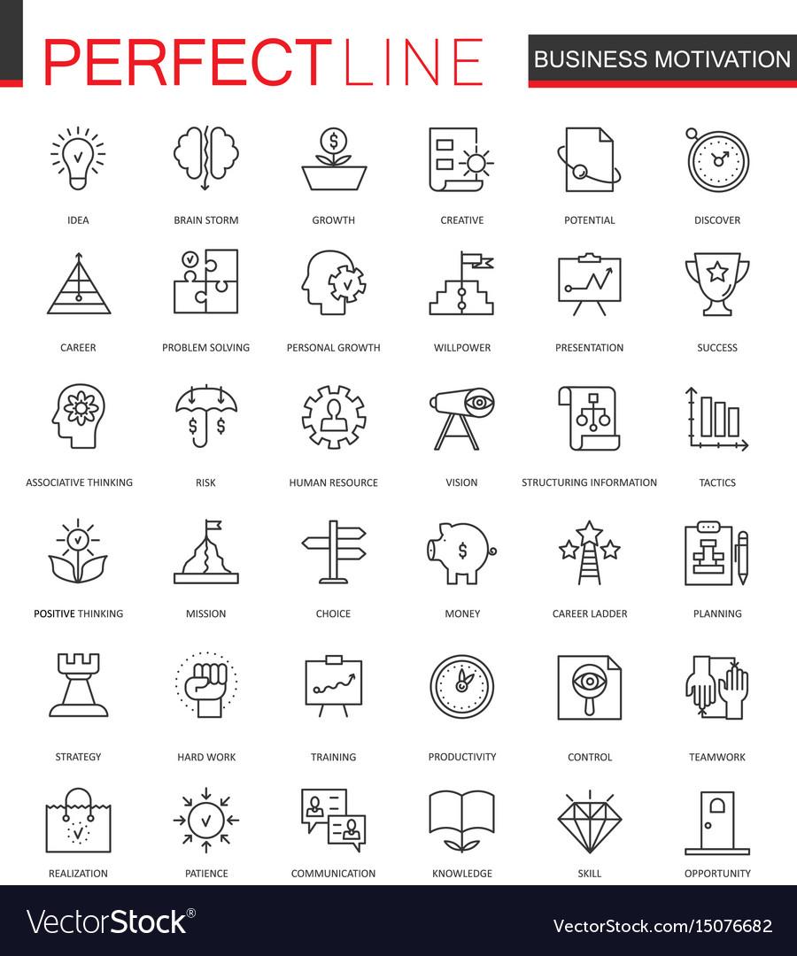 Business motivation thin line web icons set