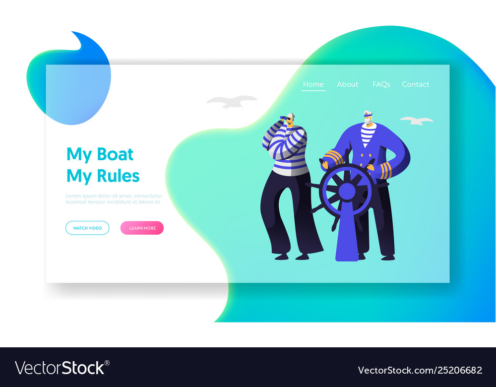 Captain at steering wheel sailor in stripped vests