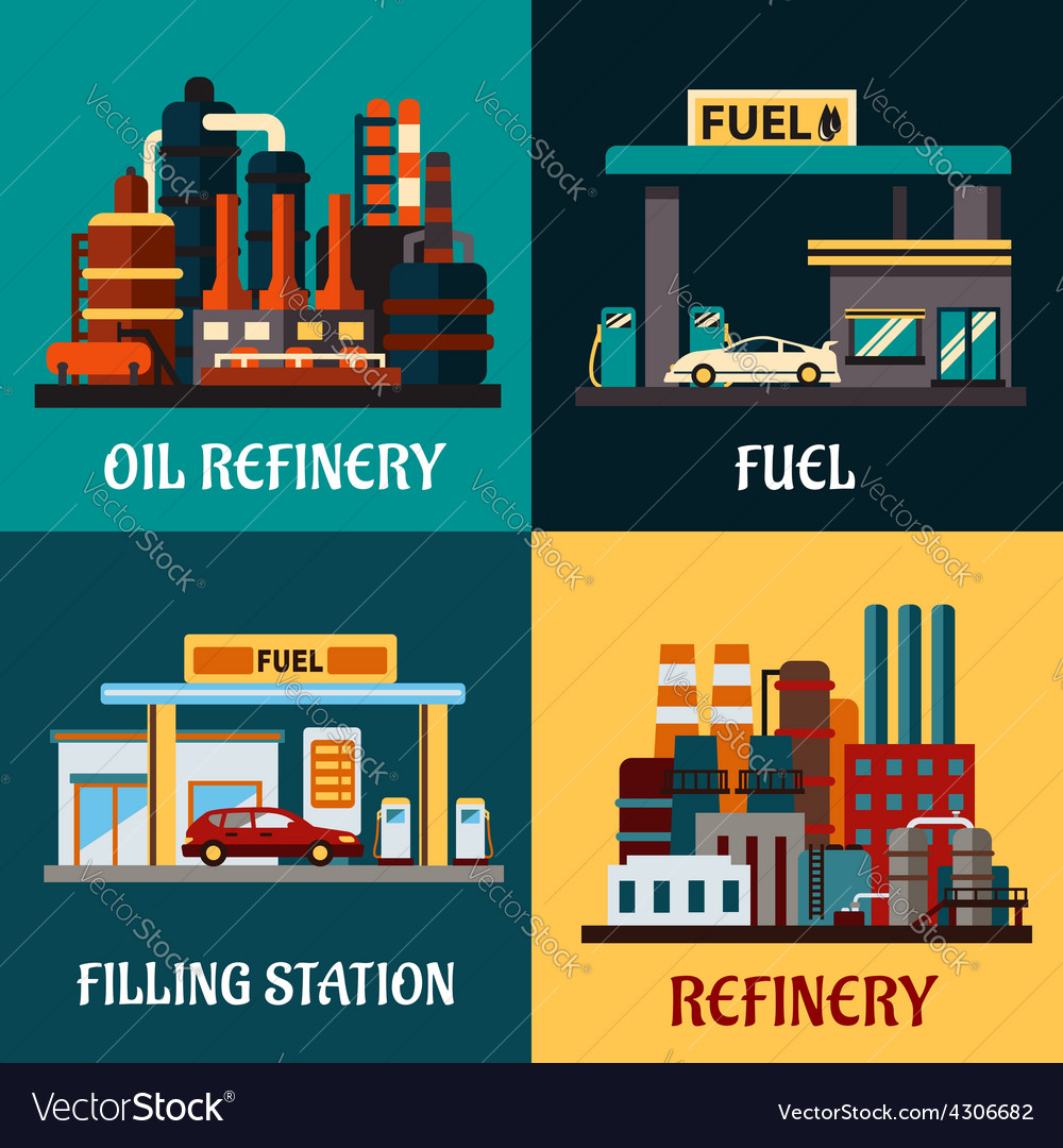 Filling stations and oil refinery flat concepts
